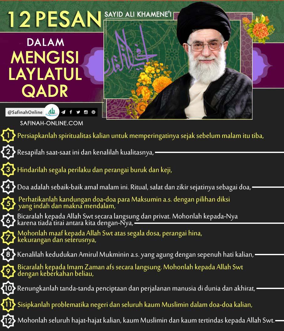 Lailatul Qadr, 12 Pesan Sayid Ali Khamene'i